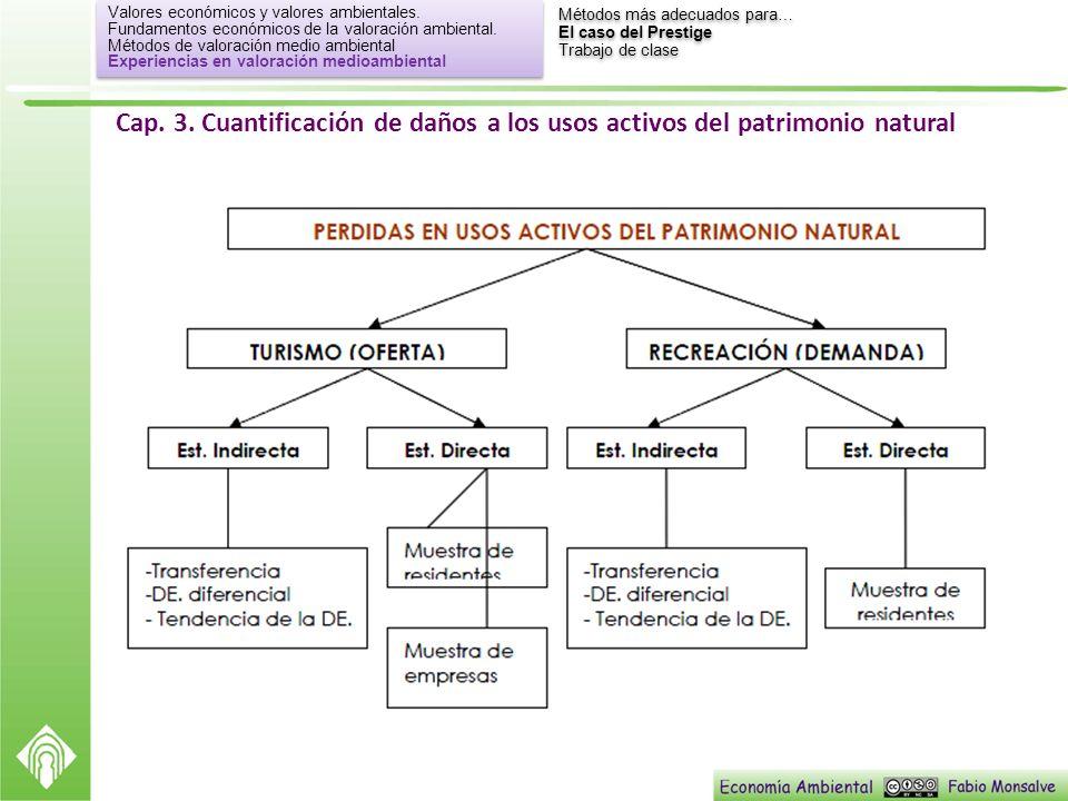 Cap. 3. Cuantificación de daños a los usos activos del patrimonio natural Valores económicos y valores ambientales. Fundamentos económicos de la valor