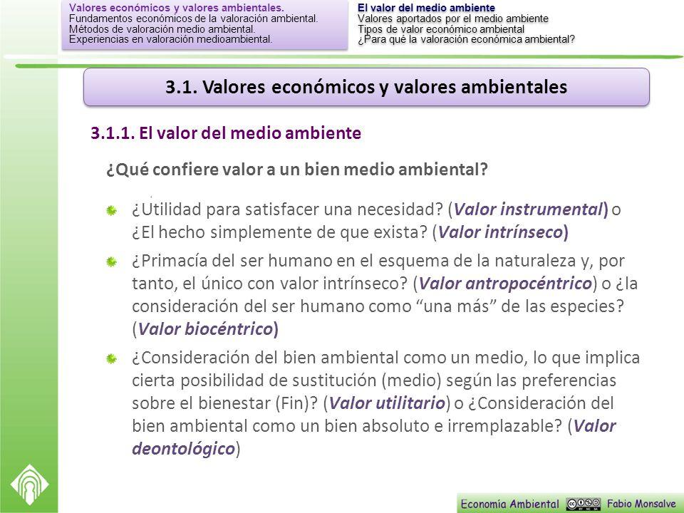 3.1. Valores económicos y valores ambientales ¿Qué confiere valor a un bien medio ambiental? ¿Utilidad para satisfacer una necesidad? (Valor instrumen