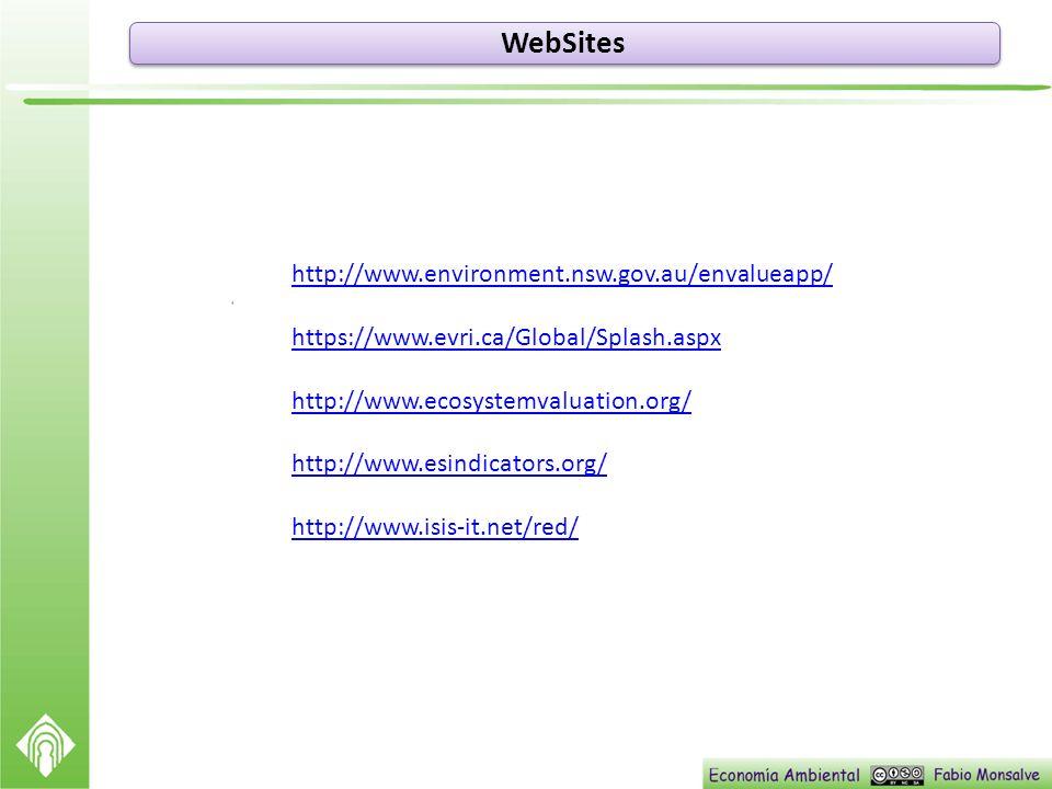 WebSites http://www.environment.nsw.gov.au/envalueapp/ https://www.evri.ca/Global/Splash.aspx http://www.ecosystemvaluation.org/ http://www.esindicato