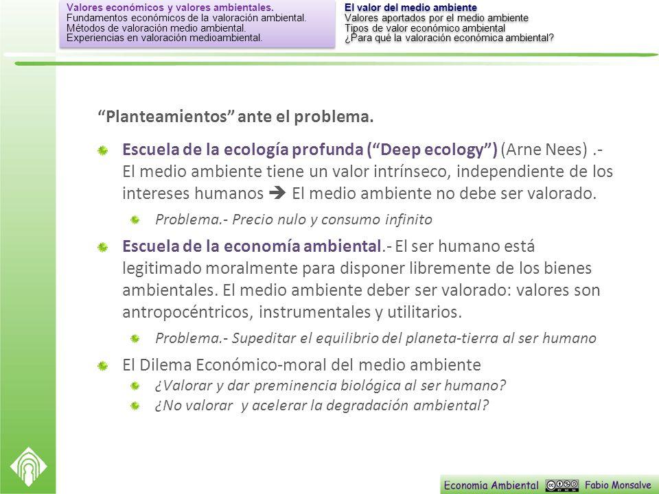 Planteamientos ante el problema. Escuela de la ecología profunda (Deep ecology) (Arne Nees).- El medio ambiente tiene un valor intrínseco, independien