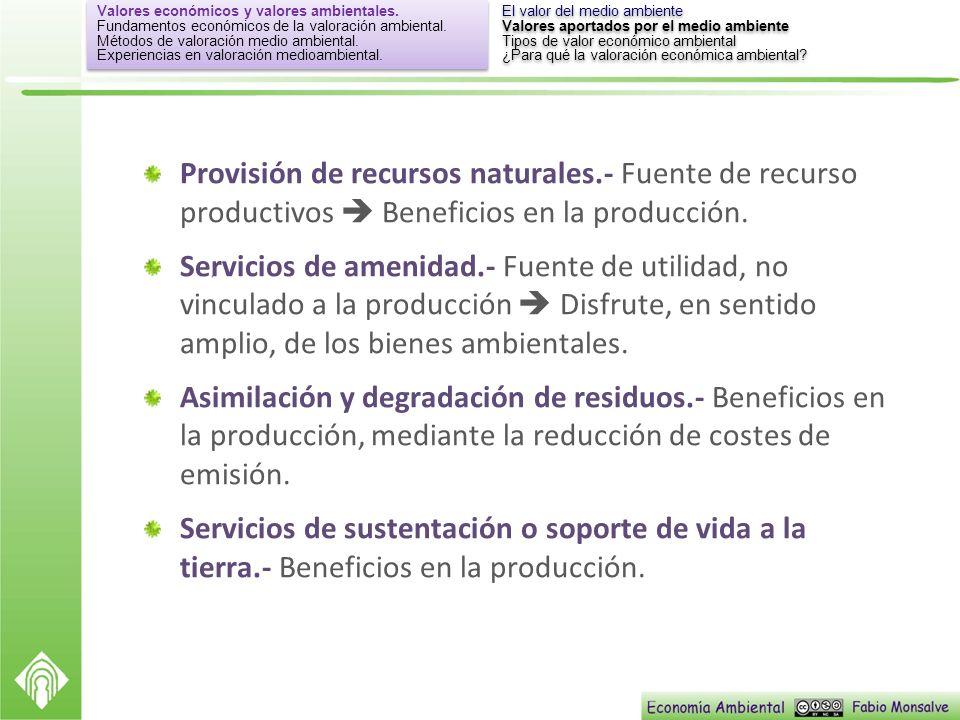 Provisión de recursos naturales.- Fuente de recurso productivos Beneficios en la producción. Servicios de amenidad.- Fuente de utilidad, no vinculado