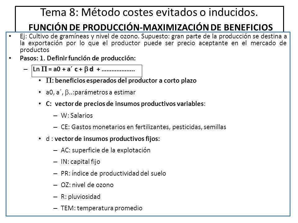 Tema 8: Método costes evitados o inducidos.