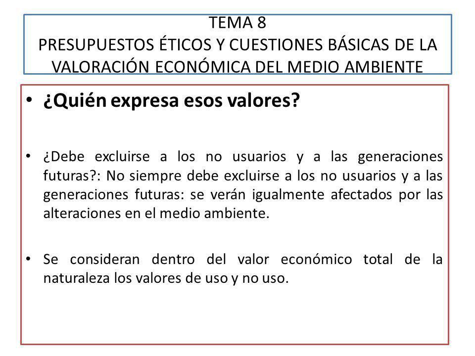 TEMA 8 PRESUPUESTOS ÉTICOS Y CUESTIONES BÁSICAS DE LA VALORACIÓN ECONÓMICA DEL MEDIO AMBIENTE ¿Cómo se expresan esos valores.