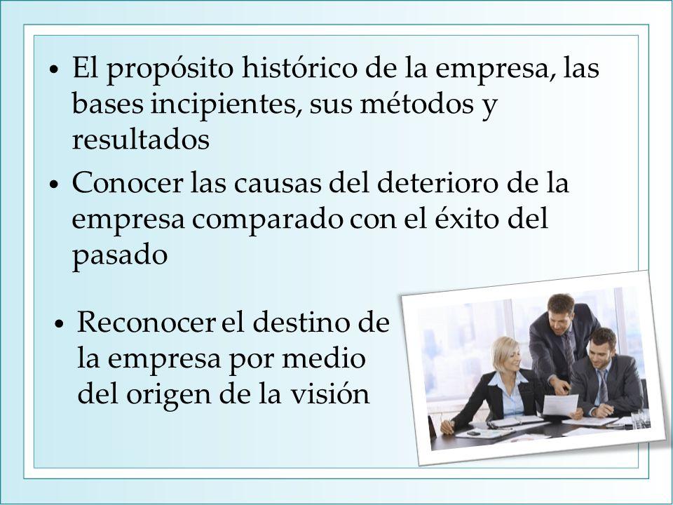 El propósito histórico de la empresa, las bases incipientes, sus métodos y resultados Conocer las causas del deterioro de la empresa comparado con el éxito del pasado Reconocer el destino de la empresa por medio del origen de la visión