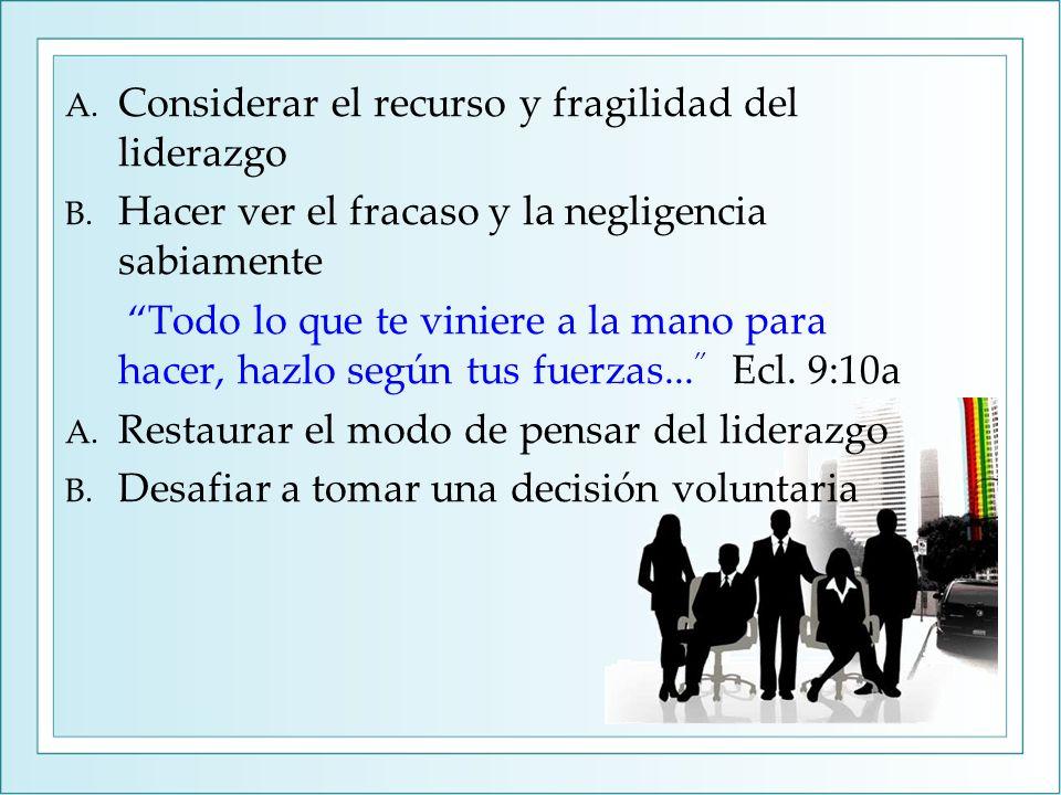 A. Considerar el recurso y fragilidad del liderazgo B.