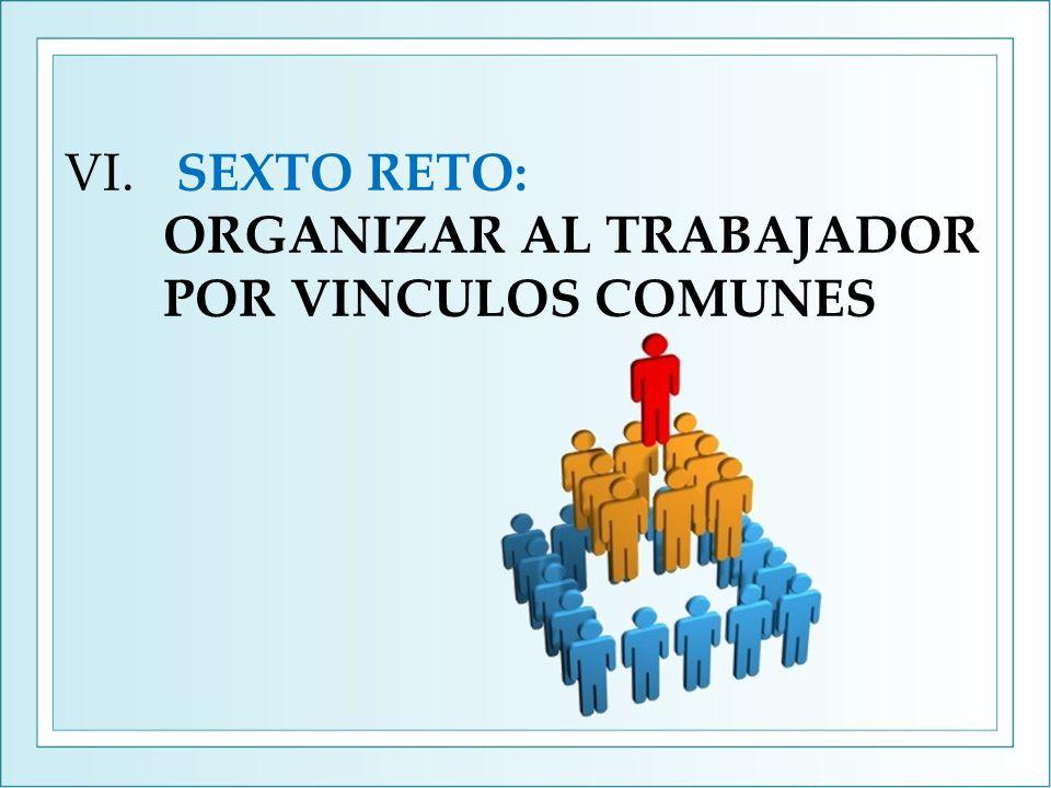 VI. SEXTO RETO: ORGANIZAR AL TRABAJADOR POR VINCULOS COMUNES