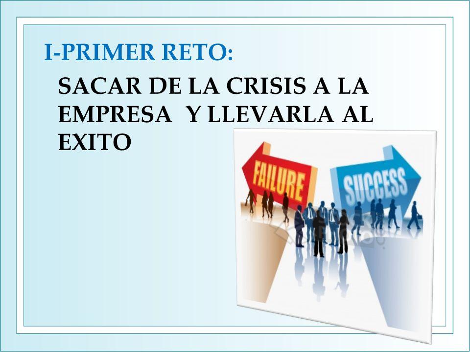 I-PRIMER RETO: SACAR DE LA CRISIS A LA EMPRESA Y LLEVARLA AL EXITO
