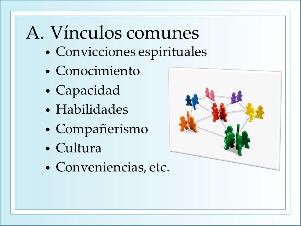 A.Vínculos comunes Convicciones espirituales Conocimiento Capacidad Habilidades Compañerismo Cultura Conveniencias, etc.