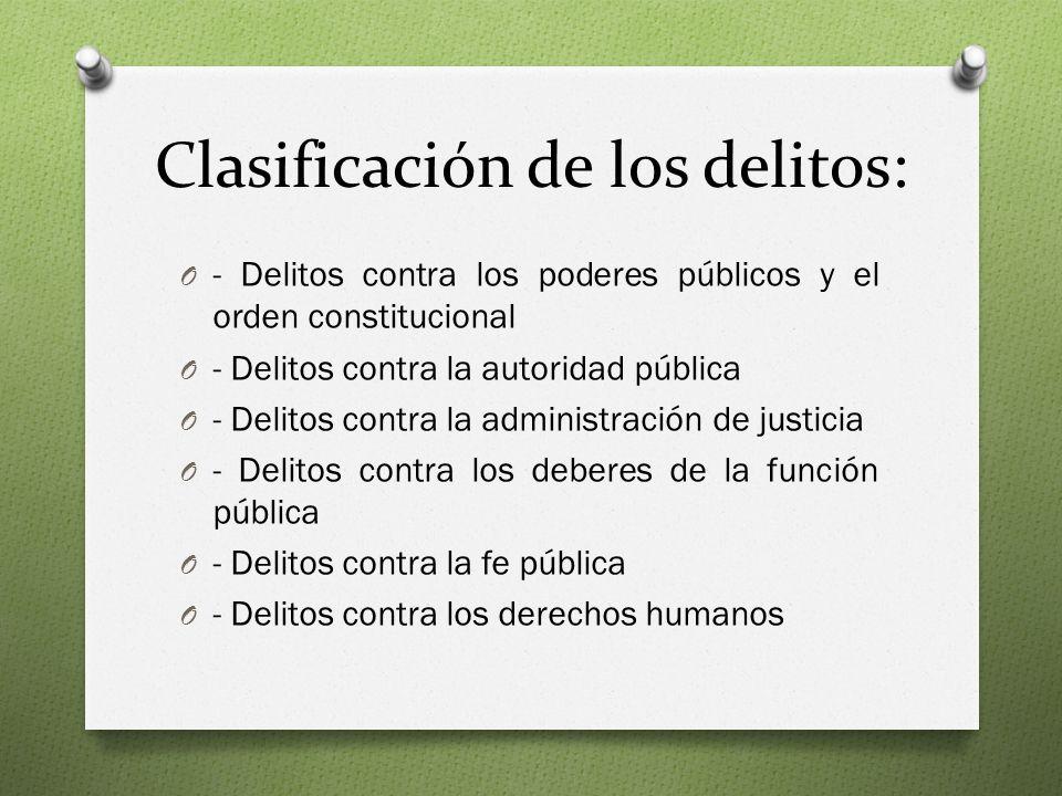 Clasificación de los delitos: O - Delitos contra los poderes públicos y el orden constitucional O - Delitos contra la autoridad pública O - Delitos contra la administración de justicia O - Delitos contra los deberes de la función pública O - Delitos contra la fe pública O - Delitos contra los derechos humanos
