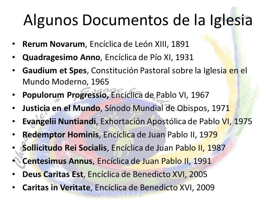 Algunos Documentos de la Iglesia Rerum Novarum, Encíclica de León XIII, 1891 Quadragesimo Anno, Encíclica de Pío XI, 1931 Gaudium et Spes, Constitució
