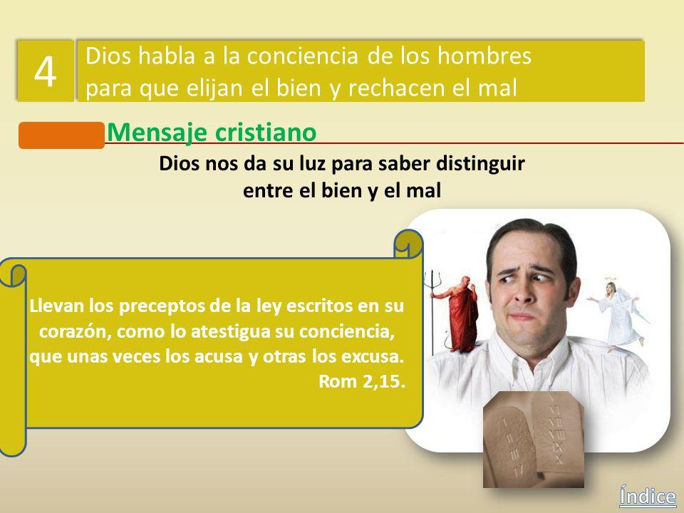 Mensaje cristiano Dios nos da su luz para saber distinguir entre el bien y el mal 4 4 Dios habla a la conciencia de los hombres para que elijan el bie
