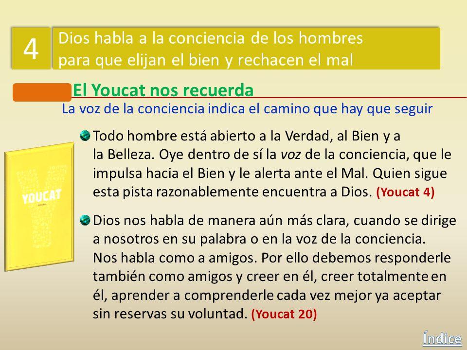 El Youcat nos recuerda ¿Cómo sabe un hombre que ha pecado? La voz de la conciencia indica el camino que hay que seguir ¿Qué son los vicios? Un hombre