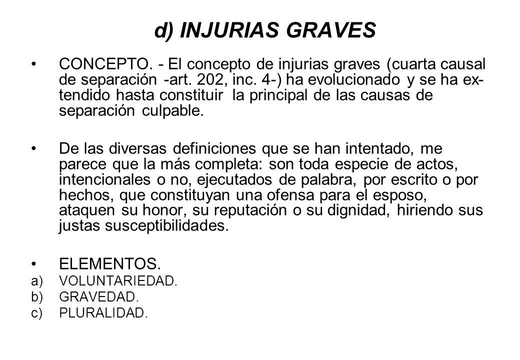 d) INJURIAS GRAVES CONCEPTO. - El concepto de injurias graves (cuarta causal de separación -art. 202, inc. 4-) ha evolucionado y se ha ex- tendido has