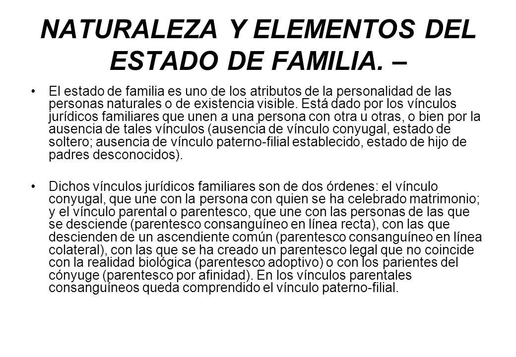 NATURALEZA Y ELEMENTOS DEL ESTADO DE FAMILIA. – El estado de familia es uno de los atributos de la personalidad de las personas naturales o de existen