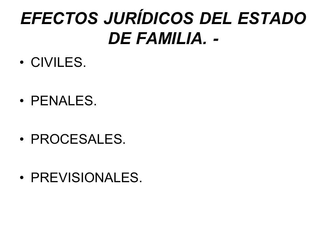 EFECTOS JURÍDICOS DEL ESTADO DE FAMILIA. - CIVILES. PENALES. PROCESALES. PREVISIONALES.