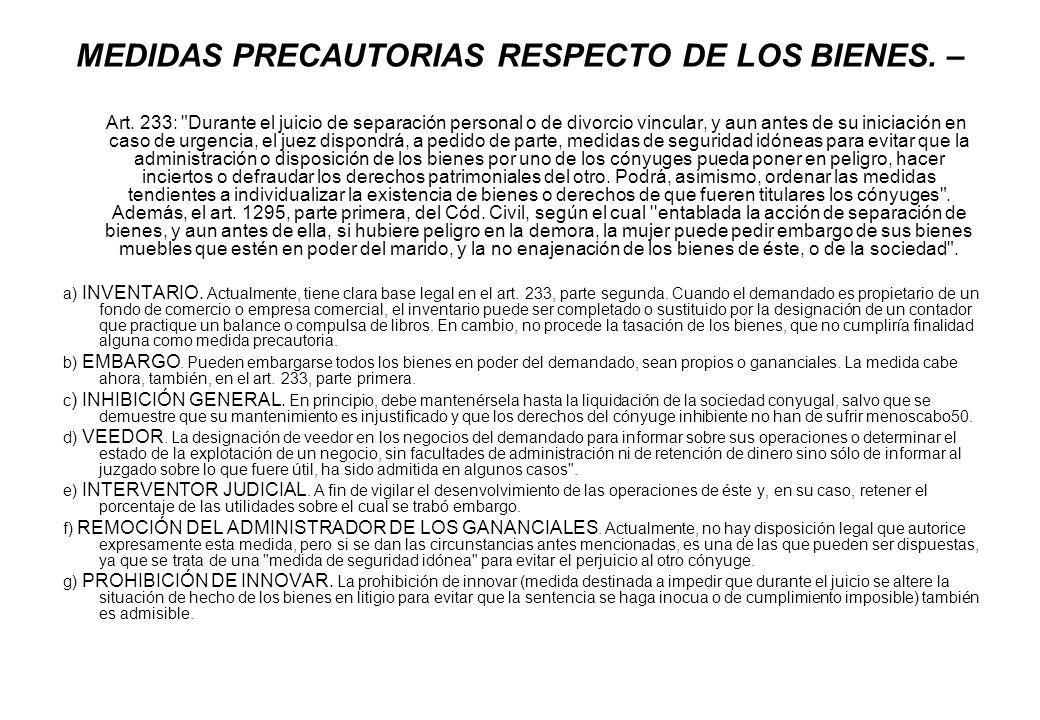 MEDIDAS PRECAUTORIAS RESPECTO DE LOS BIENES. – Art. 233: