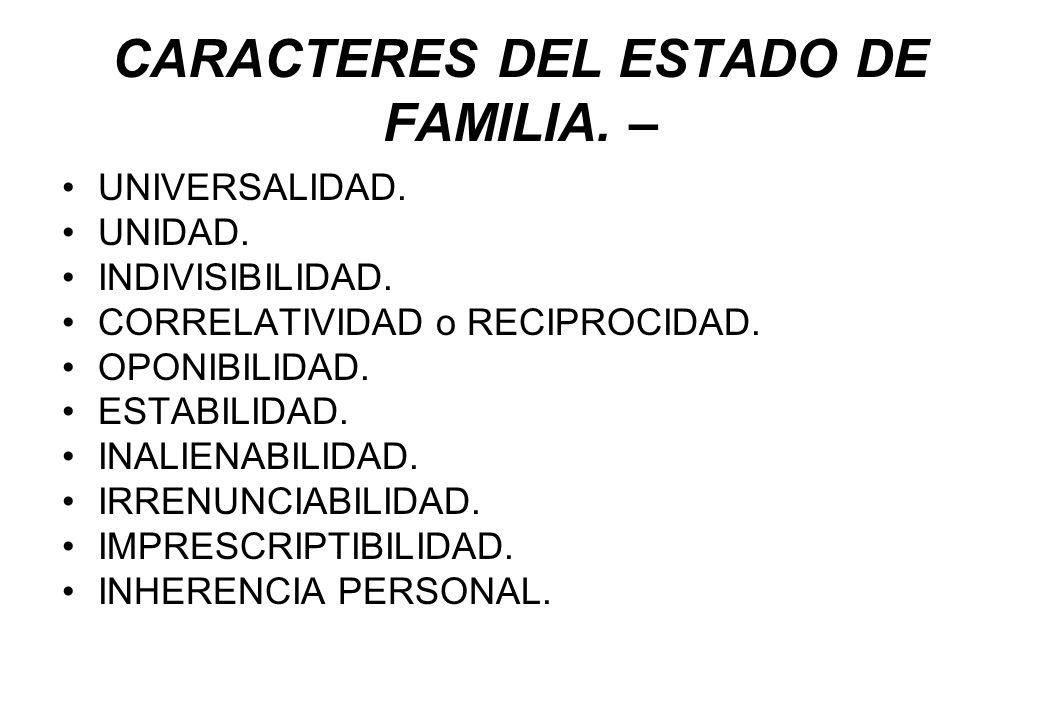 CARACTERES DEL ESTADO DE FAMILIA. – UNIVERSALIDAD. UNIDAD. INDIVISIBILIDAD. CORRELATIVIDAD o RECIPROCIDAD. OPONIBILIDAD. ESTABILIDAD. INALIENABILIDAD.