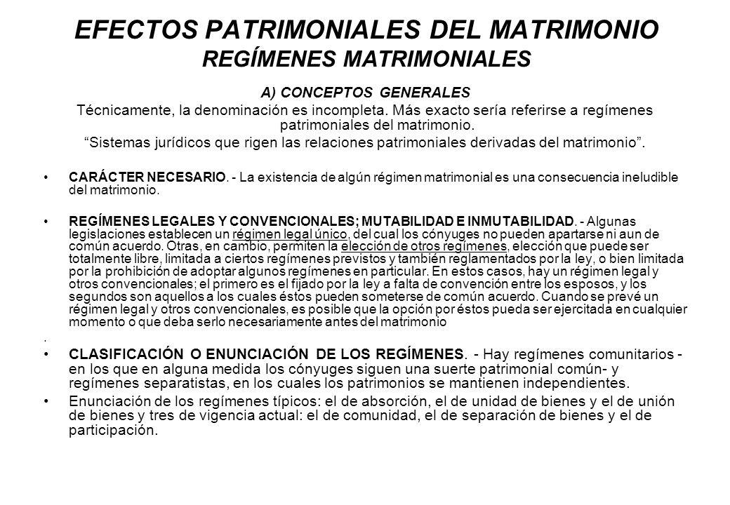 EFECTOS PATRIMONIALES DEL MATRIMONIO REGÍMENES MATRIMONIALES A) CONCEPTOS GENERALES Técnicamente, la denominación es incompleta. Más exacto sería refe