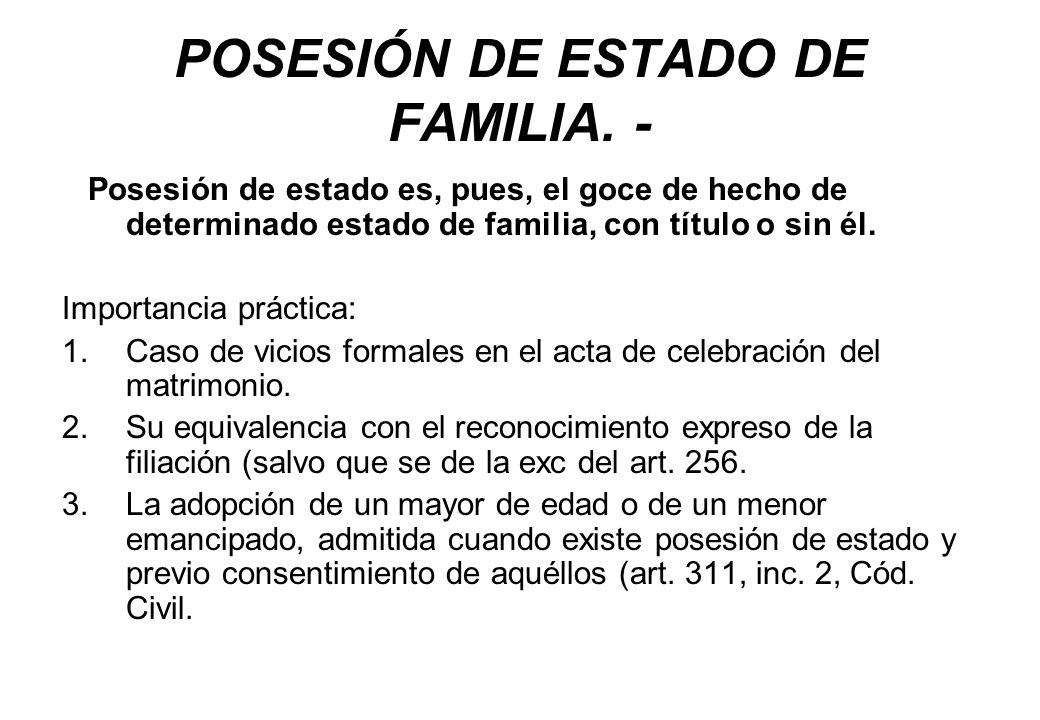 POSESIÓN DE ESTADO DE FAMILIA. - Posesión de estado es, pues, el goce de hecho de determinado estado de familia, con título o sin él. Importancia prác