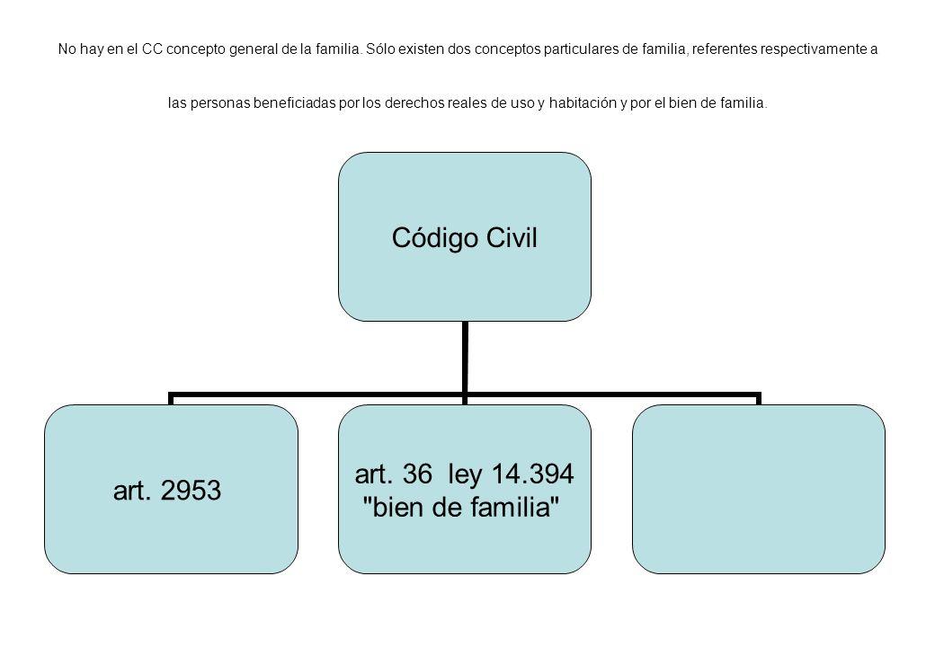 No hay en el CC concepto general de la familia. Sólo existen dos conceptos particulares de familia, referentes respectivamente a las personas benefici
