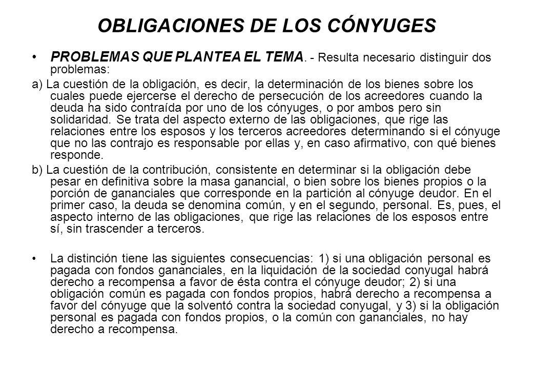 OBLIGACIONES DE LOS CÓNYUGES PROBLEMAS QUE PLANTEA EL TEMA. - Resulta necesario distinguir dos problemas: a) La cuestión de la obligación, es decir, l