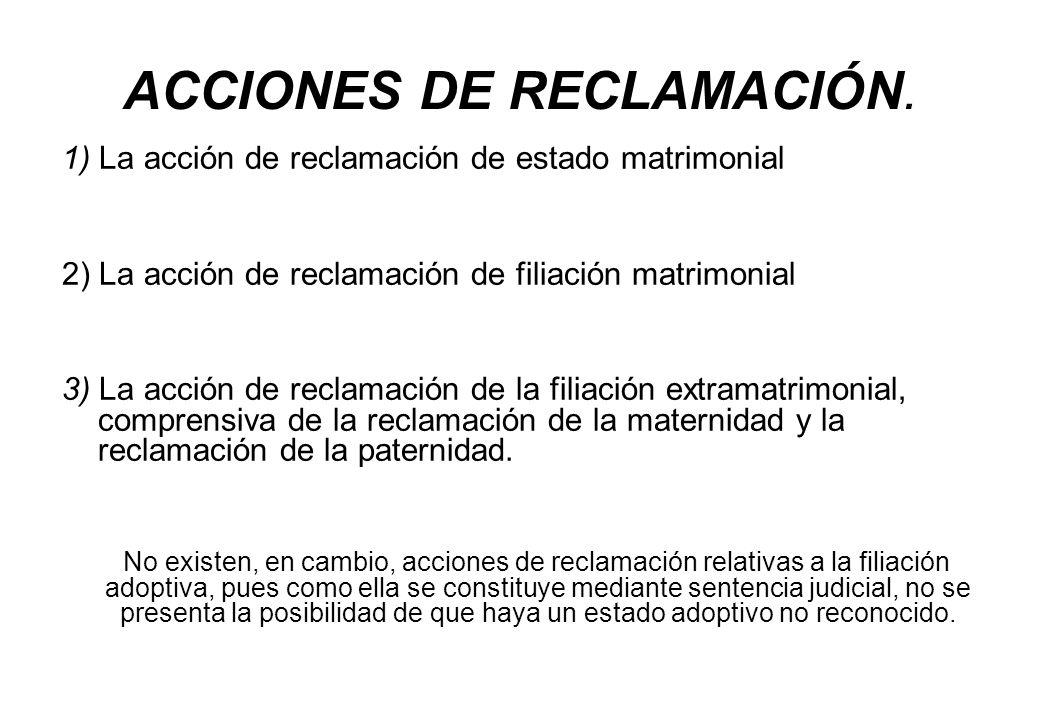 ACCIONES DE RECLAMACIÓN. 1) La acción de reclamación de estado matrimonial 2) La acción de reclamación de filiación matrimonial 3) La acción de reclam