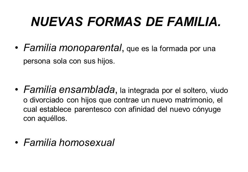 NUEVAS FORMAS DE FAMILIA. Familia monoparental, que es la formada por una persona sola con sus hijos. Familia ensamblada, la integrada por el soltero,