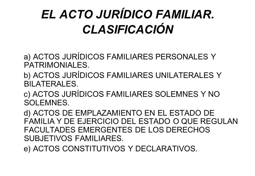 EL ACTO JURÍDICO FAMILIAR. CLASIFICACIÓN a) ACTOS JURÍDICOS FAMILIARES PERSONALES Y PATRIMONIALES. b) ACTOS JURÍDICOS FAMILIARES UNILATERALES Y BILATE