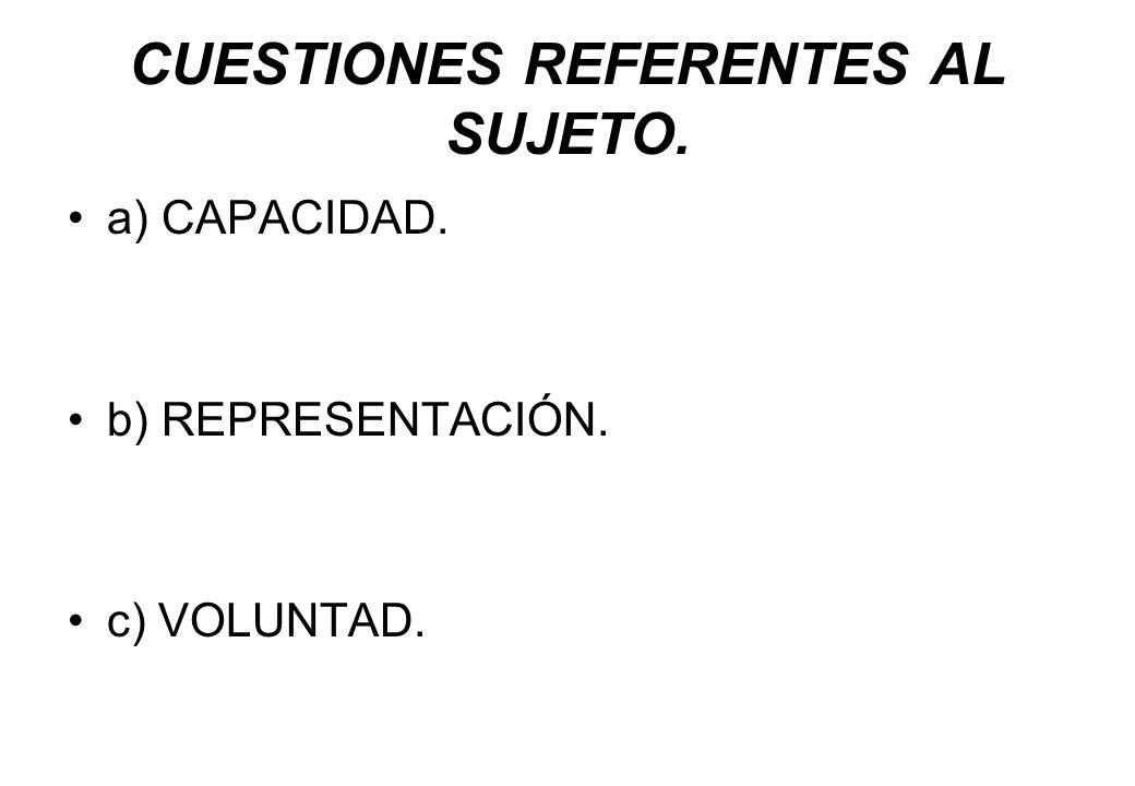 CUESTIONES REFERENTES AL SUJETO. a) CAPACIDAD. b) REPRESENTACIÓN. c) VOLUNTAD.