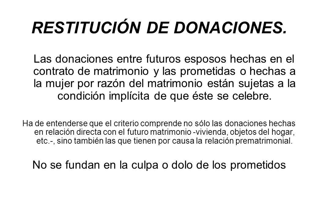 RESTITUCIÓN DE DONACIONES. Las donaciones entre futuros esposos hechas en el contrato de matrimonio y las prometidas o hechas a la mujer por razón del