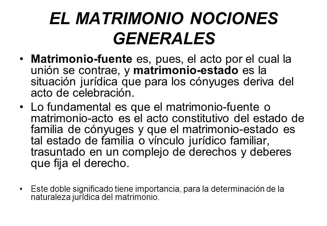 EL MATRIMONIO NOCIONES GENERALES Matrimonio-fuente es, pues, el acto por el cual la unión se contrae, y matrimonio-estado es la situación jurídica que