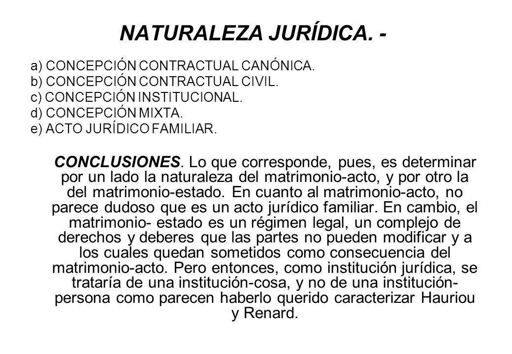 NATURALEZA JURÍDICA. - a) CONCEPCIÓN CONTRACTUAL CANÓNICA. b) CONCEPCIÓN CONTRACTUAL CIVIL. c) CONCEPCIÓN INSTITUCIONAL. d) CONCEPCIÓN MIXTA. e) ACTO