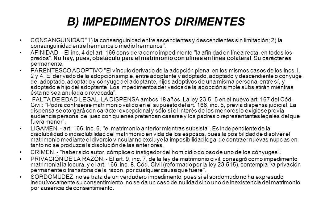 B) IMPEDIMENTOS DIRIMENTES CONSANGUINIDAD