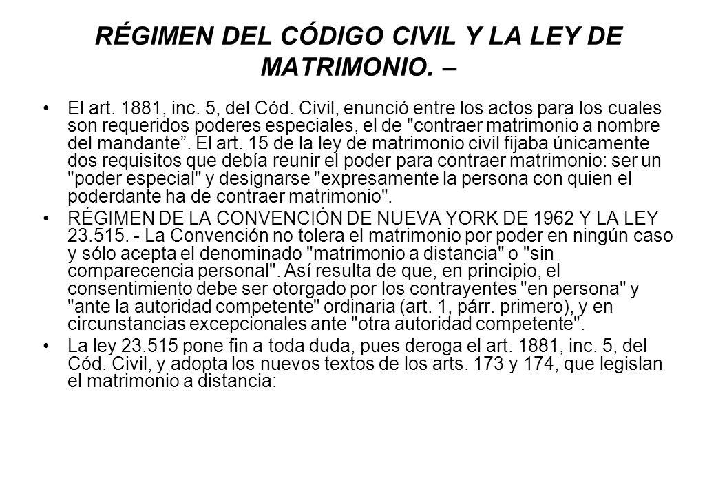 RÉGIMEN DEL CÓDIGO CIVIL Y LA LEY DE MATRIMONIO. – El art. 1881, inc. 5, del Cód. Civil, enunció entre los actos para los cuales son requeridos podere