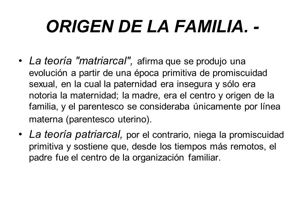 ORIGEN DE LA FAMILIA. - La teoría