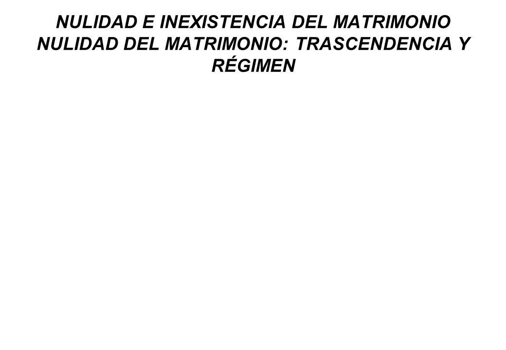 NULIDAD E INEXISTENCIA DEL MATRIMONIO NULIDAD DEL MATRIMONIO: TRASCENDENCIA Y RÉGIMEN