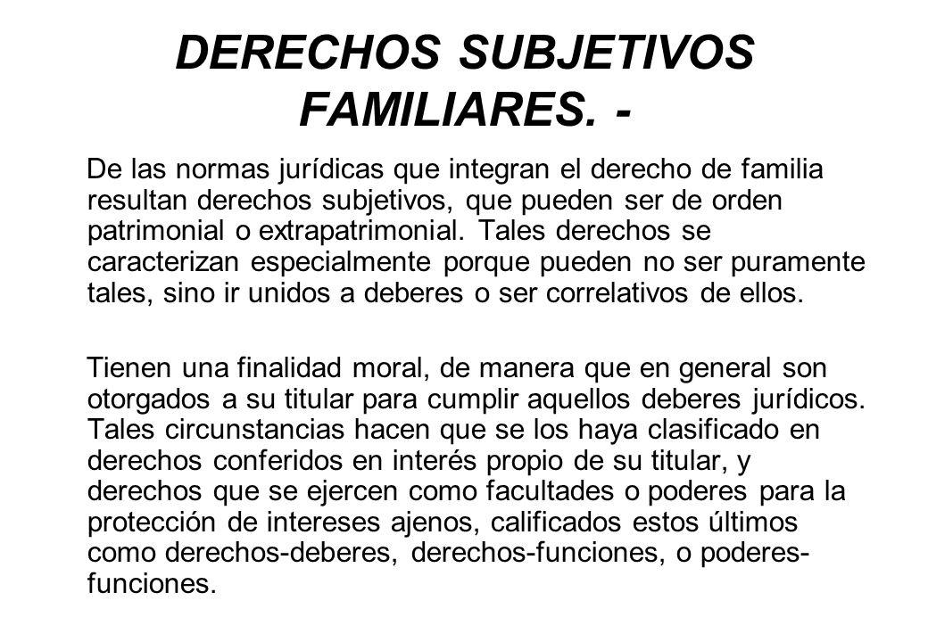 DERECHOS SUBJETIVOS FAMILIARES. - De las normas jurídicas que integran el derecho de familia resultan derechos subjetivos, que pueden ser de orden pat