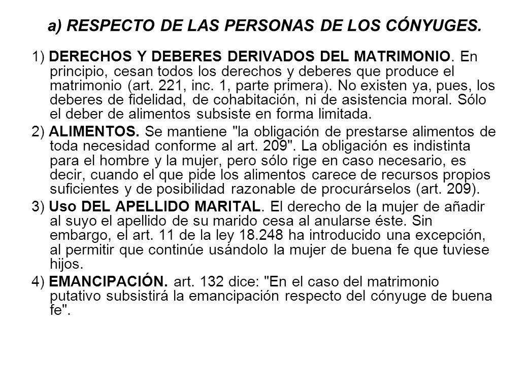 a) RESPECTO DE LAS PERSONAS DE LOS CÓNYUGES. 1) DERECHOS Y DEBERES DERIVADOS DEL MATRIMONIO. En principio, cesan todos los derechos y deberes que prod
