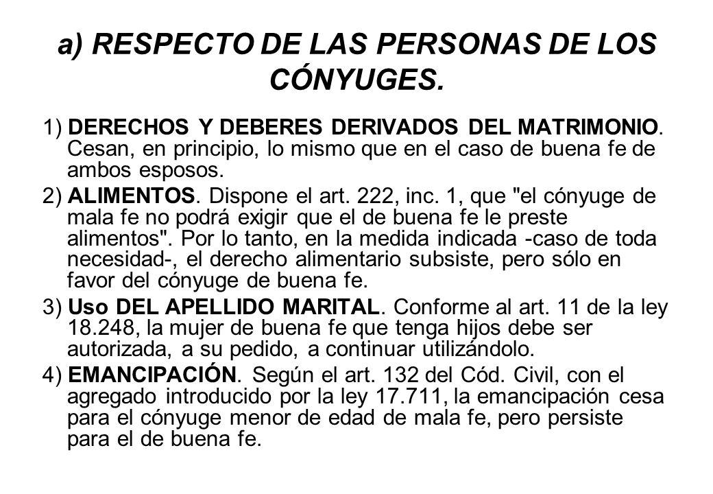 a) RESPECTO DE LAS PERSONAS DE LOS CÓNYUGES. 1) DERECHOS Y DEBERES DERIVADOS DEL MATRIMONIO. Cesan, en principio, lo mismo que en el caso de buena fe