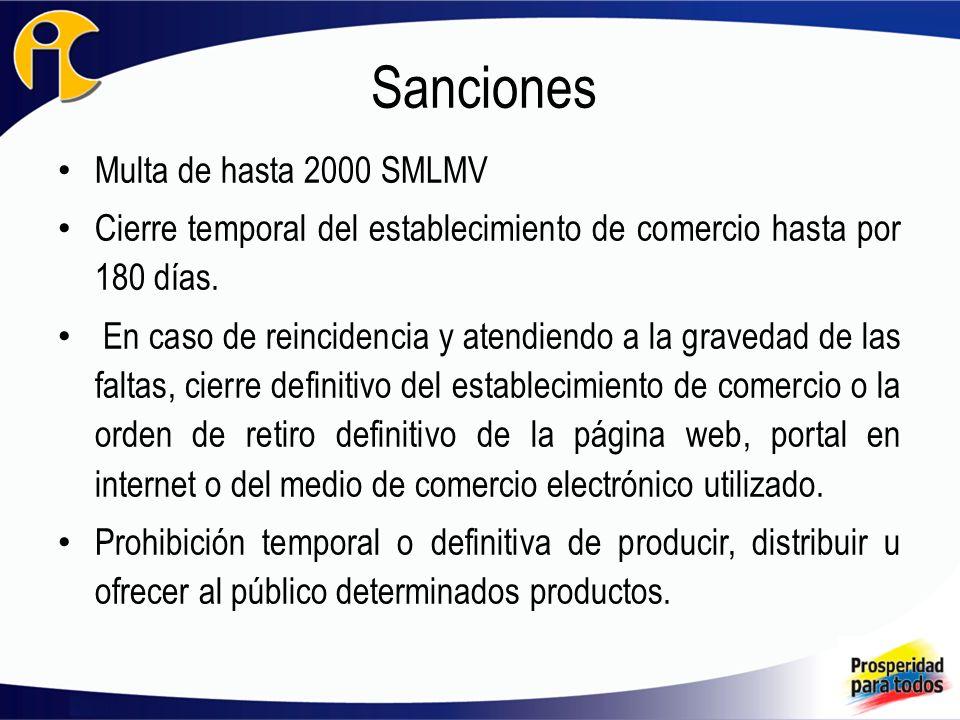 Sanciones Multa de hasta 2000 SMLMV Cierre temporal del establecimiento de comercio hasta por 180 días.