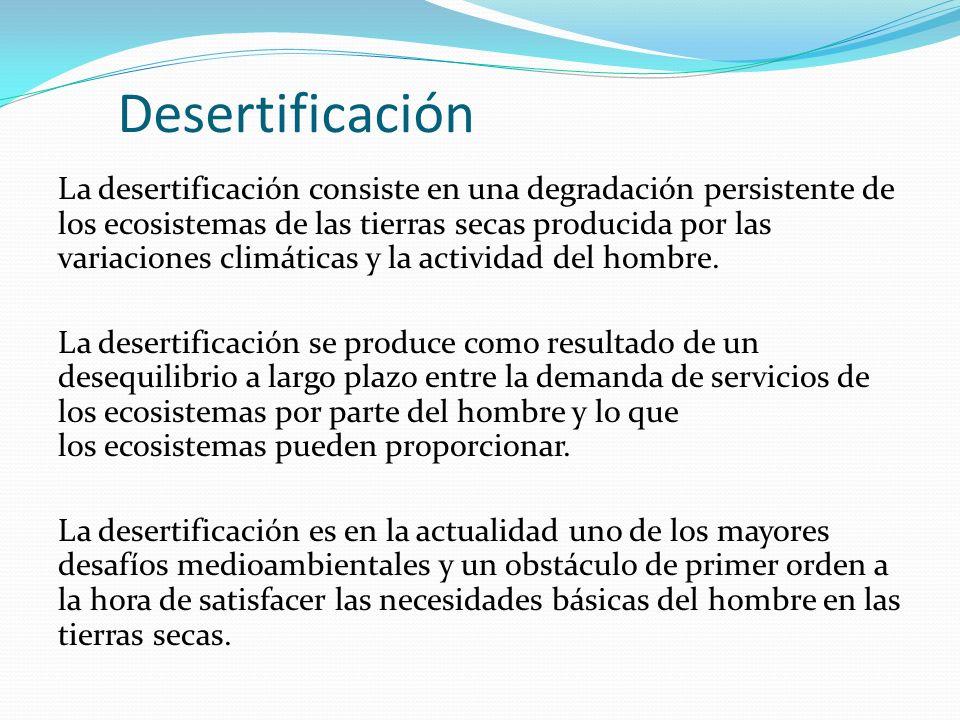 Desertificación La desertificación consiste en una degradación persistente de los ecosistemas de las tierras secas producida por las variaciones climá