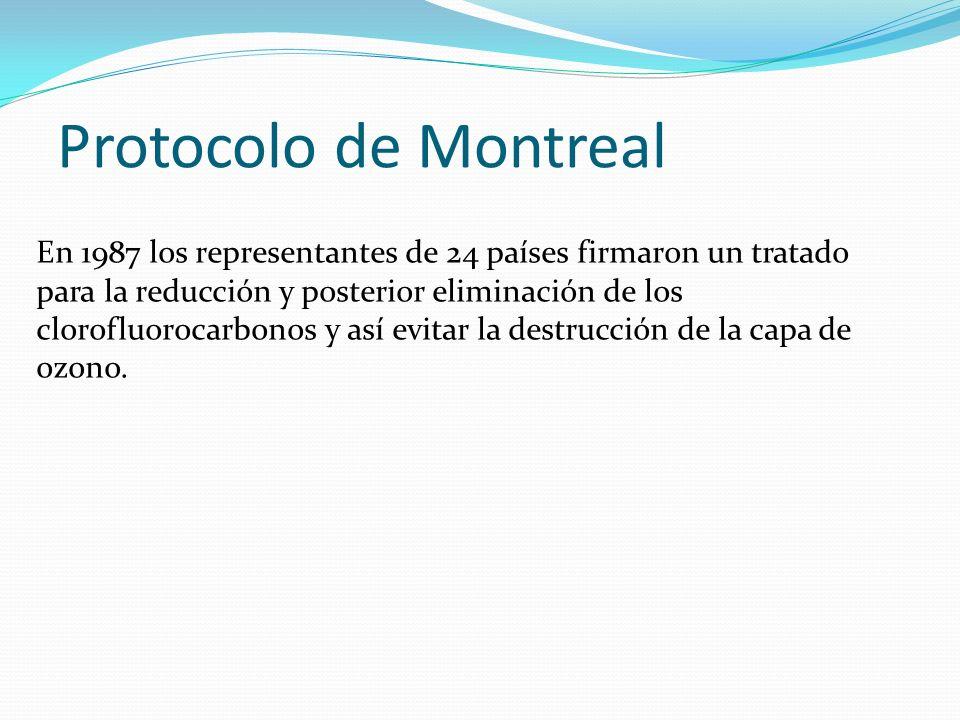 Protocolo de Montreal En 1987 los representantes de 24 países firmaron un tratado para la reducción y posterior eliminación de los clorofluorocarbonos
