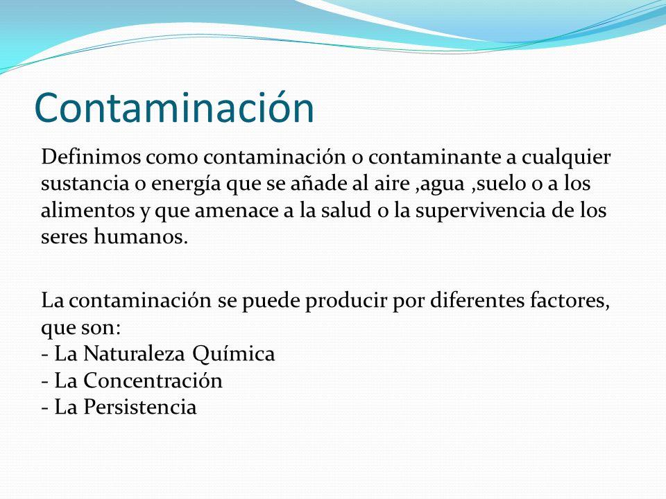 Contaminación Definimos como contaminación o contaminante a cualquier sustancia o energía que se añade al aire,agua,suelo o a los alimentos y que amen