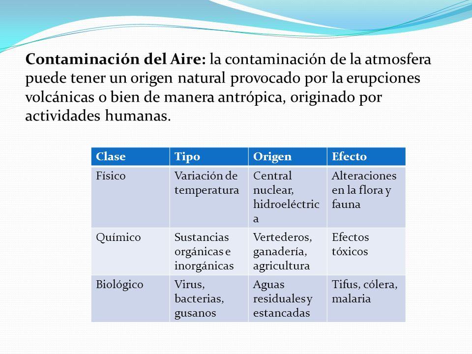 Contaminación del Aire: la contaminación de la atmosfera puede tener un origen natural provocado por la erupciones volcánicas o bien de manera antrópi