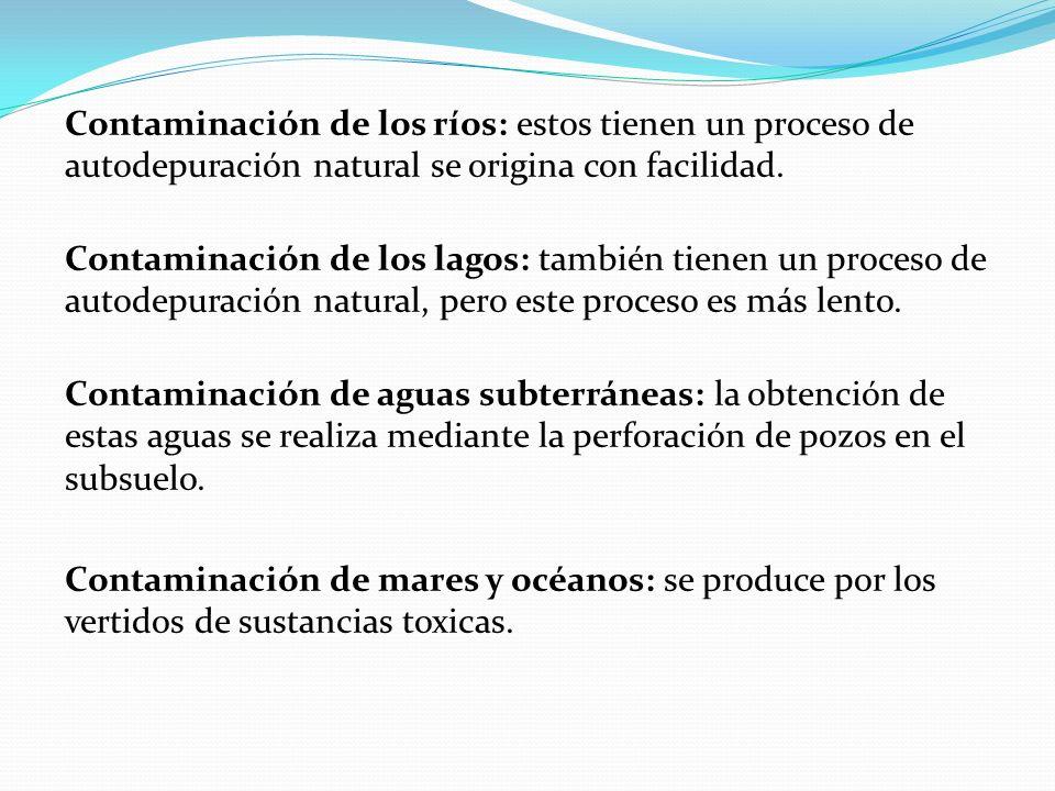 Contaminación de los ríos: estos tienen un proceso de autodepuración natural se origina con facilidad. Contaminación de los lagos: también tienen un p