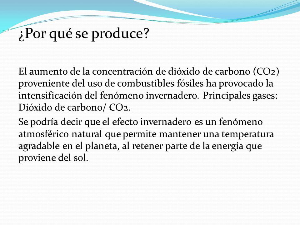 ¿Por qué se produce? El aumento de la concentración de dióxido de carbono (CO2) proveniente del uso de combustibles fósiles ha provocado la intensific