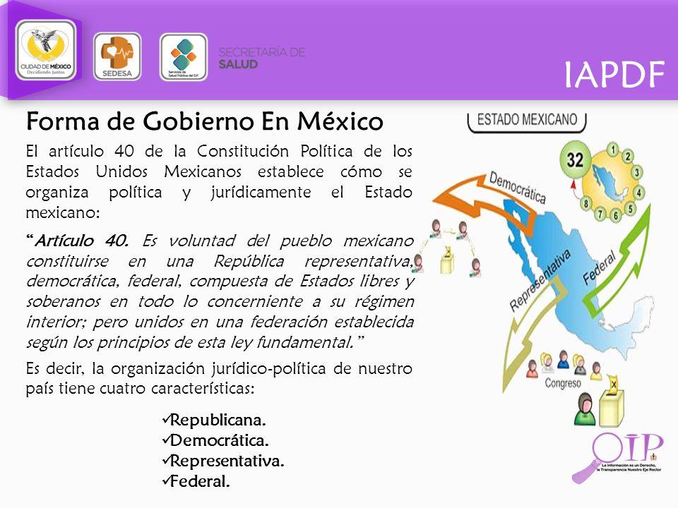 Forma de Gobierno En México El artículo 40 de la Constitución Política de los Estados Unidos Mexicanos establece cómo se organiza política y jurídicam