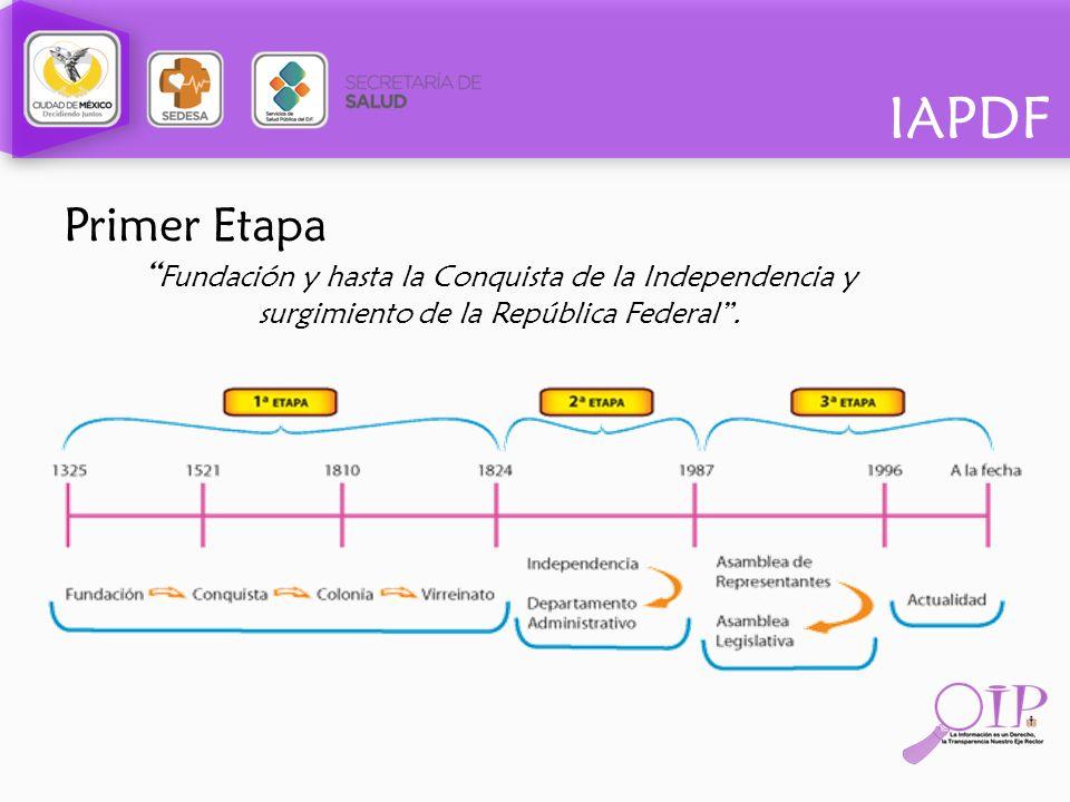 Primer Etapa Fundación y hasta la Conquista de la Independencia y surgimiento de la República Federal.