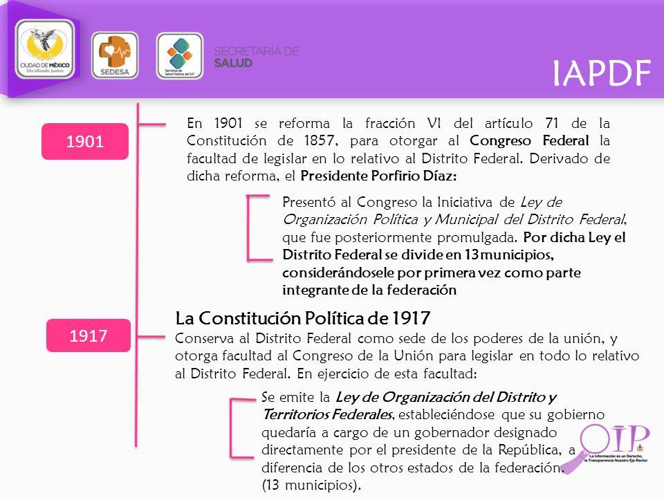 IAPDF En 1901 se reforma la fracción VI del artículo 71 de la Constitución de 1857, para otorgar al Congreso Federal la facultad de legislar en lo rel