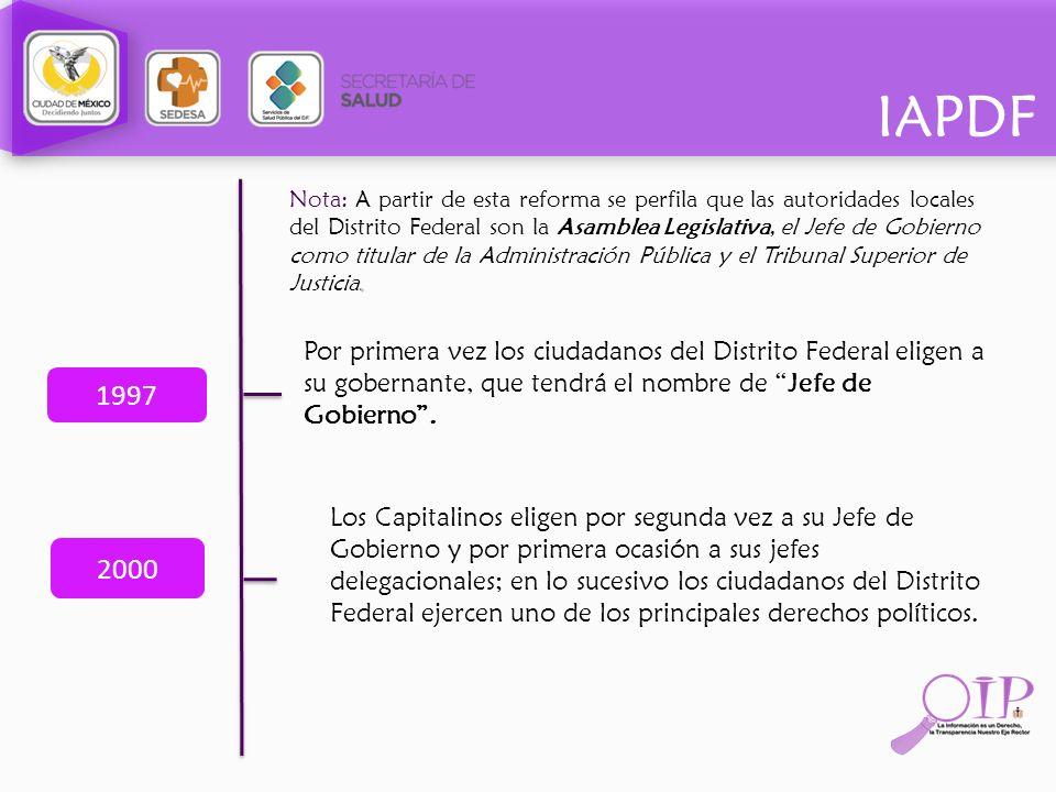 IAPDF. Nota: A partir de esta reforma se perfila que las autoridades locales del Distrito Federal son la Asamblea Legislativa, el Jefe de Gobierno com